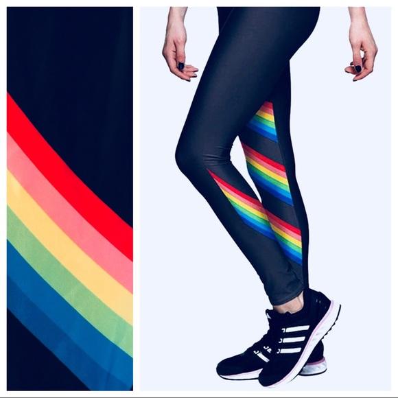 9764707010ec5c Rainbow stripe high waist workout yoga pants sz M.  M_5b42b68c04e33d9a85df313a
